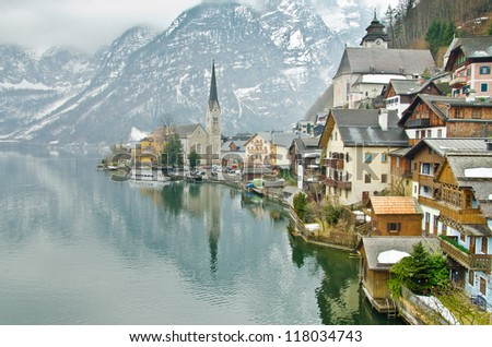Beautiful winter Alpine Hallstatt Town and lake Hallstatter See view (Austria)