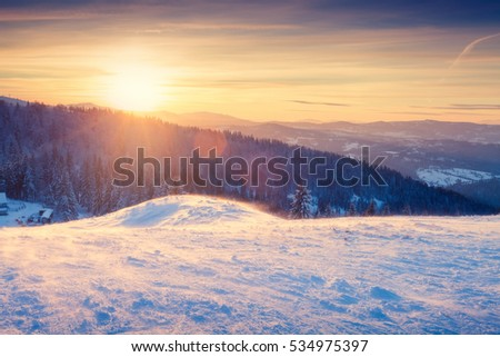 Beautiful winter landscape at sunset. Mountains and trees in snow. Natural sunlight