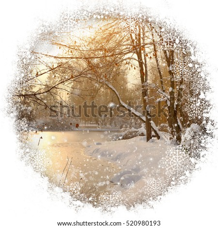 Beautiful winter landscape in ornamental circle with snowflakes