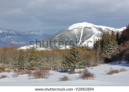 Beautiful winter scenery in french south alps Matheysine view of Vercors massive