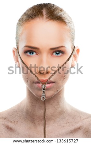 Beautiful woman changing skin, beauty concept,close up over a white background