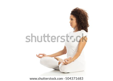 Beautiful woman doing yoga, isolated on white