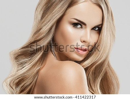 Beautiful Girl Long Wavy Hair Brunette Stock Photo ... - photo#33