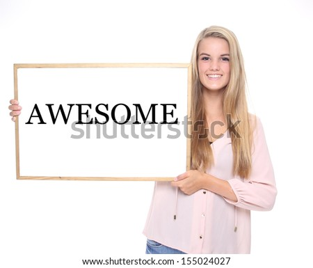 Beautiful woman holding a white board