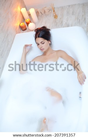 Beautiful woman in a bubble bath