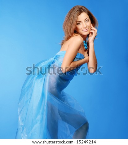 beautiful woman in blue dress