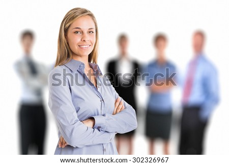 Beautiful woman in front of a group of people