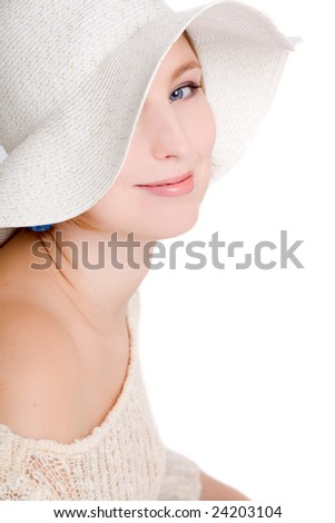 Beautiful woman in hat isolated on white background