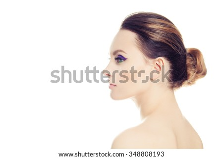 Beautiful Woman Isolated on White. Profile