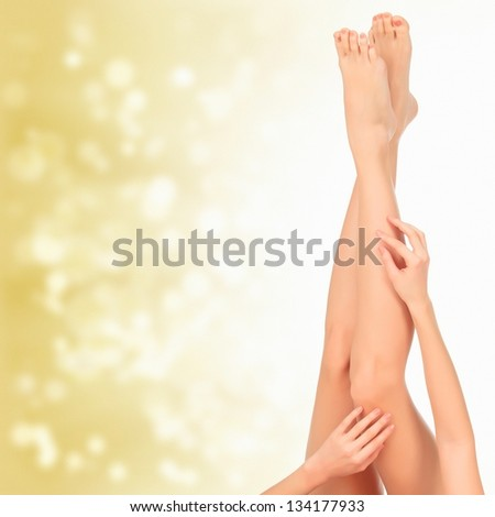 Beautiful woman legs against an abstract blurred background