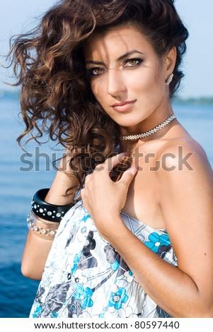 stock photo beautiful woman near the sea 80597440
