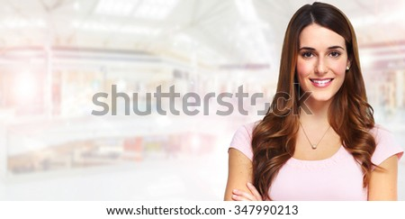 Beautiful woman portrait over abstract background.