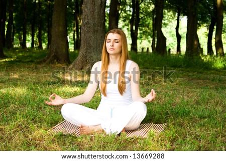 Beautiful Woman White Practice Yoga Outdoors Stock Photo ...
