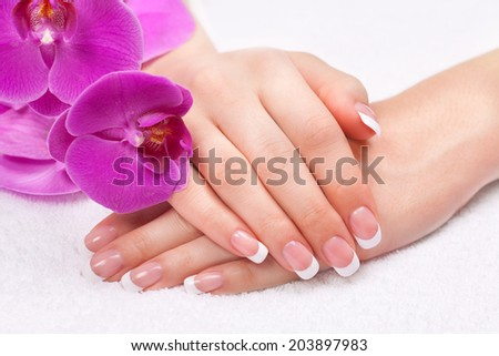 Beautiful woman's hands with perfect french manicure near purple orchid flowers