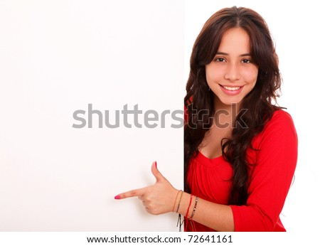 Beautiful woman saying something with space for insert text or design