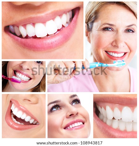 Beautiful woman smile and healthy teeth. Dental health. Collage.