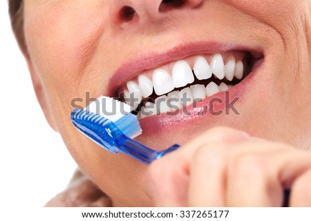 Beautiful woman smile. Dental health care concept.
