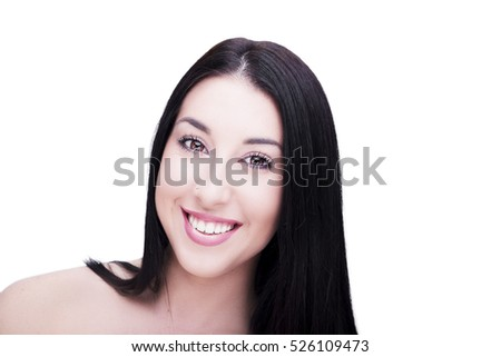 Beautiful woman smiling face close up studio on white background