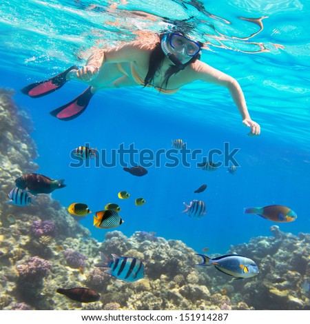 Beautiful woman snorkeling in Red Sea of Egypt
