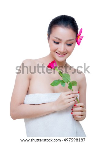 beautiful woman wear towel hold rose flower, isolated on white background, smile, beauty, healthcare