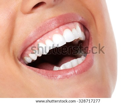 Beautiful woman white teeth. Dental health care.