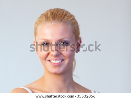 Beautiful woman with chocolate smiling at the camera focus on woman