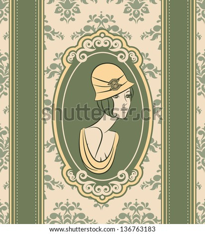 Beautiful woman with flowers on tapestry background.
