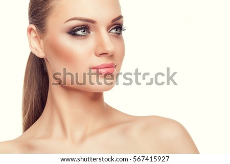 Beautiful Woman Natural Make Over White Stock Photo 567415810 Shutterstock