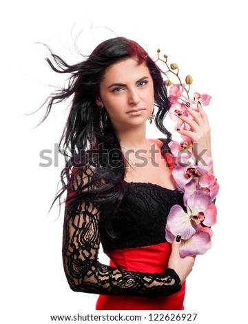 Beautiful woman with orchid flower, isolated on the white