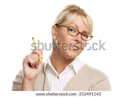 Beautiful Woman with Questioning Expression Holding Pencil Isolated On A White Background.