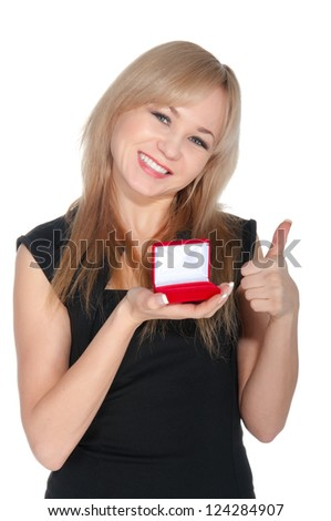 Beautiful woman with red gift box with jewelery.