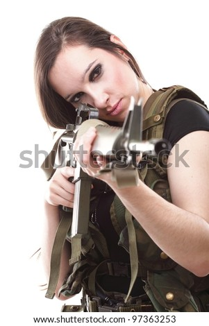 Many military naked army girl holding a gun were