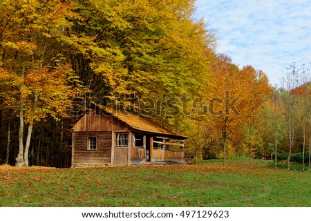 Beautiful wooden house during fall peak season in the mountains
