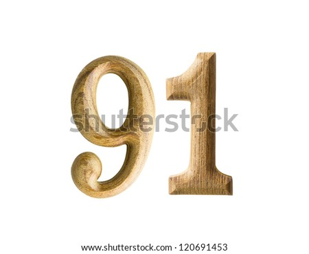 Beautiful wooden numeric isolated on white background
