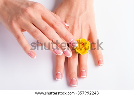 Beautiful yellow rose between the women's fingers. French manicure.