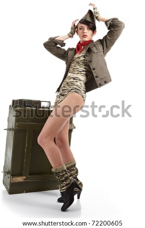 Beautiful young army pin up model