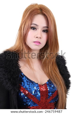 beautiful young asian woman in black suite on white background