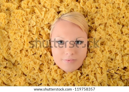 beautiful young blonde in pasta