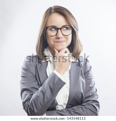 beautiful young businesswoman portrait, thinking face expression