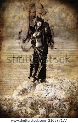 beautiful young girl in a magical forest a mysterious fairy tale halloween mysterious lady - Halloween Witchcraft
