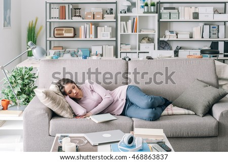 Awesome Beautiful Young Girl Sleeping On The Couch In The Living Room, She Was  Reading A Part 17