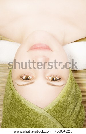 Belly pregnant girl painted smiley faces stock photo for Pregnancy and spa treatments