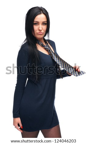 Beautiful young girl wearing a tie on a white background