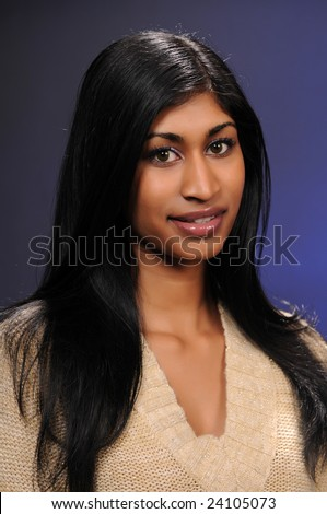 Beautiful Young Indian Woman Draped Sheer Stock Photo ...