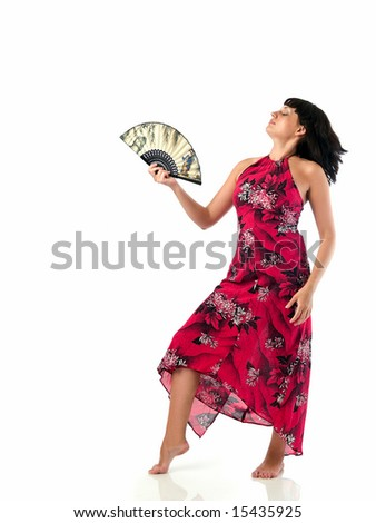 Beautiful young lady red sun-dress dancing with feather isolated white