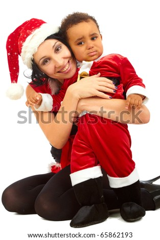 Beautiful  young mother  Santa and her son Santa on white background