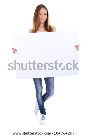 Beautiful young woman holding blank poster isolated on white