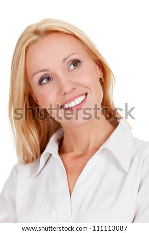 beautiful young woman in cheerful mood smiling,  white background