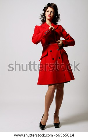 Beautiful Young Woman Red Coat Posing Stock Photo 66365014 ...