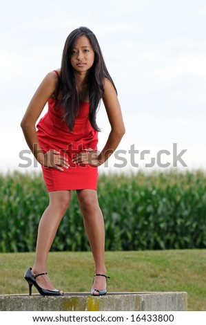 Beautiful young woman in red dress leaning in in front of corn field